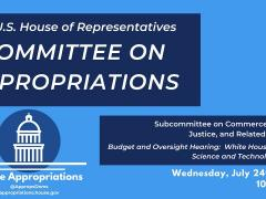 Budget & Oversight Hearing: White House Office of Science and Technology Policy (EventID=109833)