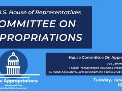 Committee Markup of FY2020 Transportation-HUD; Agriculture-Rural Development-FDA (EventID=109590)
